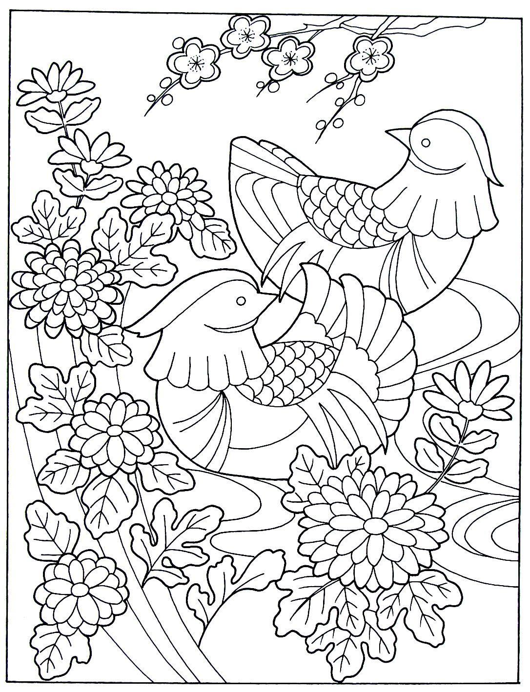 Wild ducks, chrysanthemums, and cherry blossoms - Japanese design ...