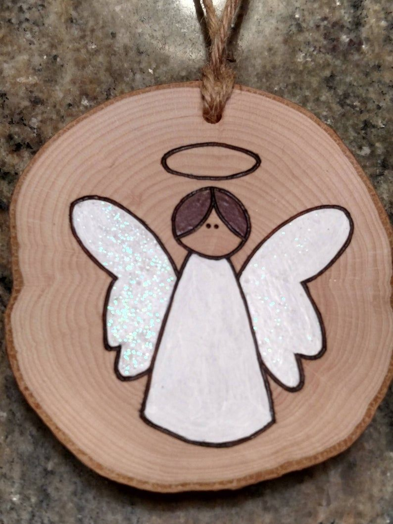 Angel Ornament Wood Burned Ornaments Gift Tags Can Be Personalized Wooden Christmas Ornaments Wood Ornaments Wood Slice Crafts