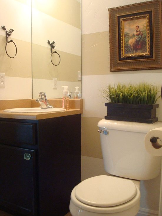 Outstanding Traditional Half Bath Designs With Rustic White Toilet Also Dark Brown Vanity Cream