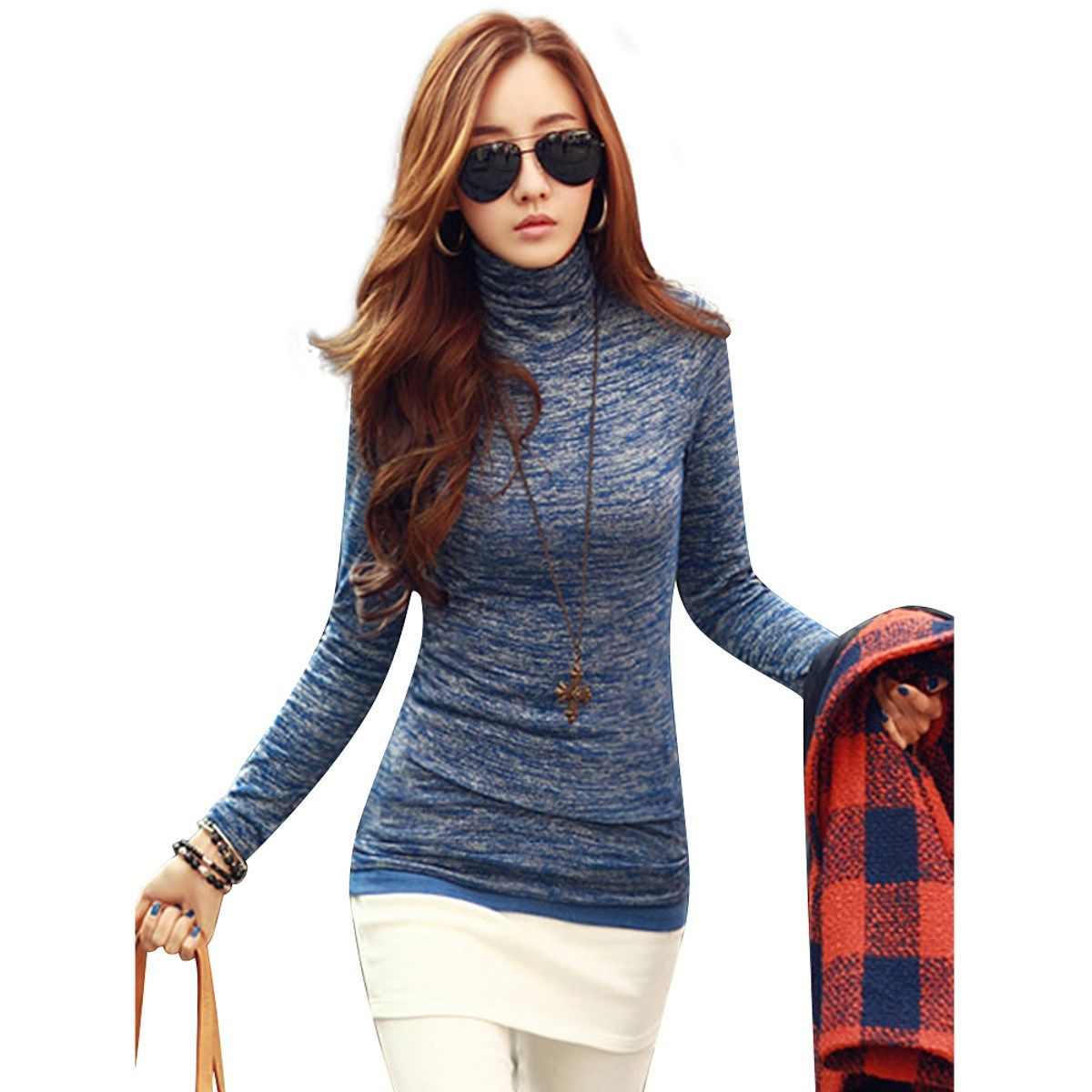 Flannel shirt plus size  Autumn Winter Women Knitted Sweaters Jumper Top Fashion Casual