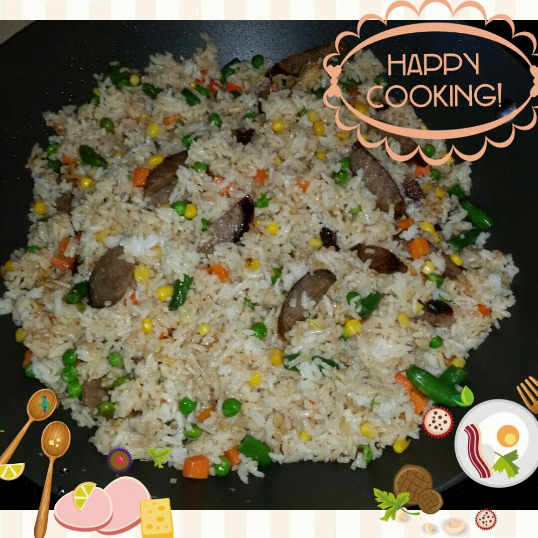 Fried Rice w/ mixed veggies & bratwurst