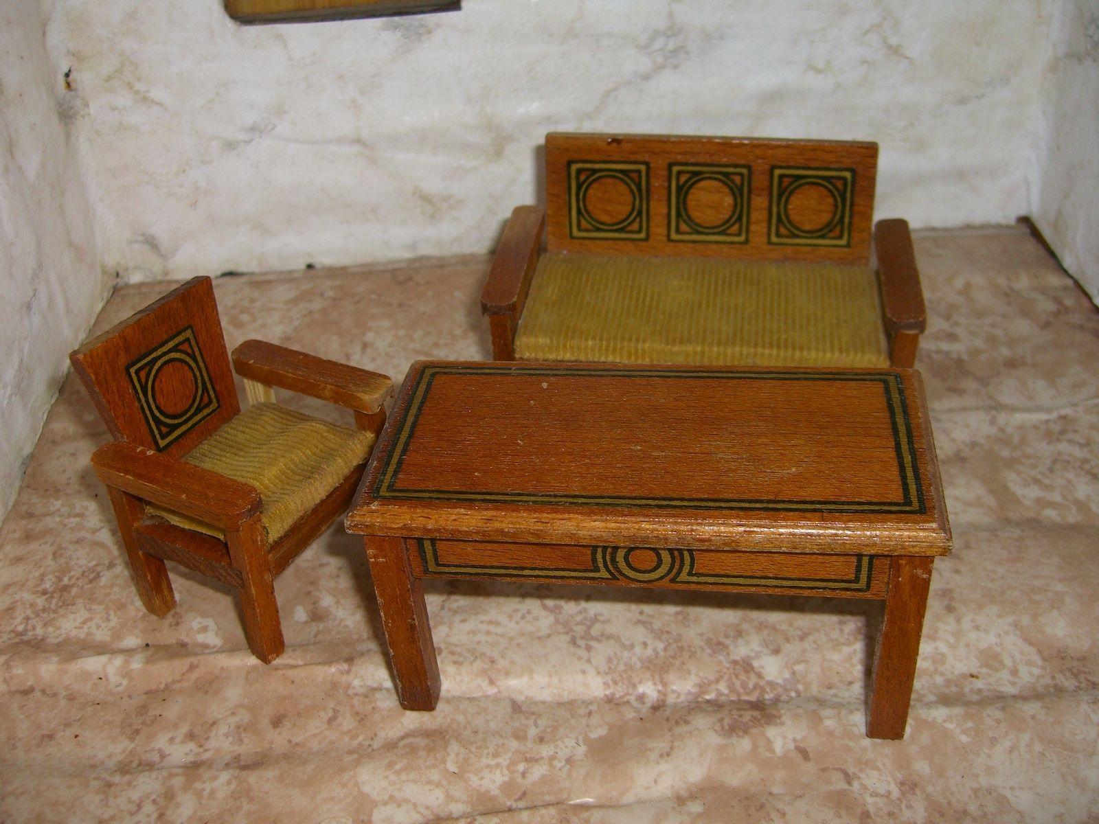 puppenstubenm bel m bel f r die puppenstube sehr alte sitzgruppe ebay dollhouse. Black Bedroom Furniture Sets. Home Design Ideas
