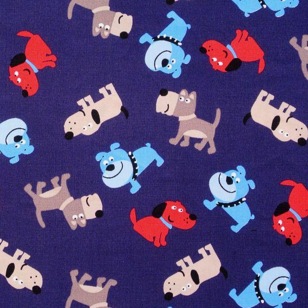 Baumwolle kleine Hunde auf Blau 50x145 cm von Schönes aus Stoff auf DaWanda.com