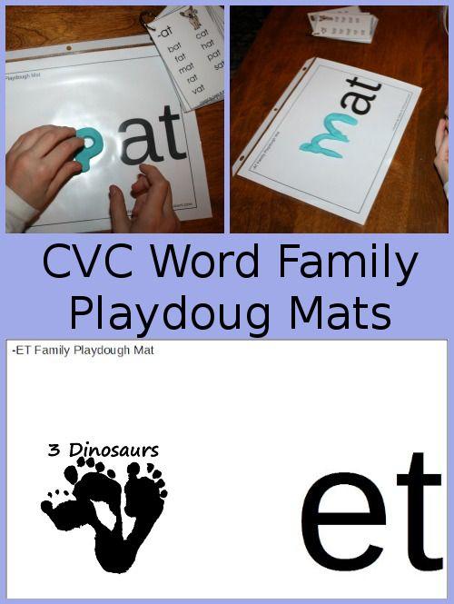 Free Cvc Word Family Play Dough Mats Cvc Word Families Word Families Cvc Words