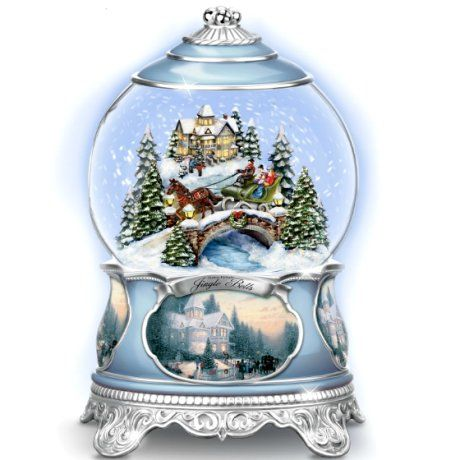 Thomas Kinkade Jingle Bells Christmas Musical Snowglobe Interior