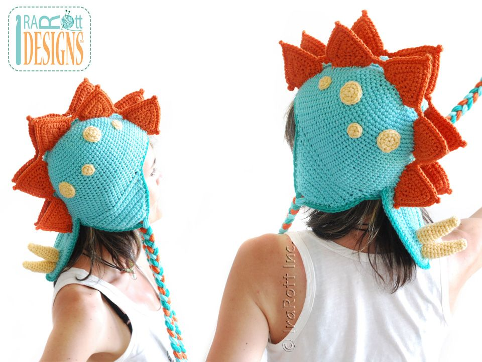 Dino Dinosaur Stegosaurus Hat Crochet Pattern for Babies Kids and ...