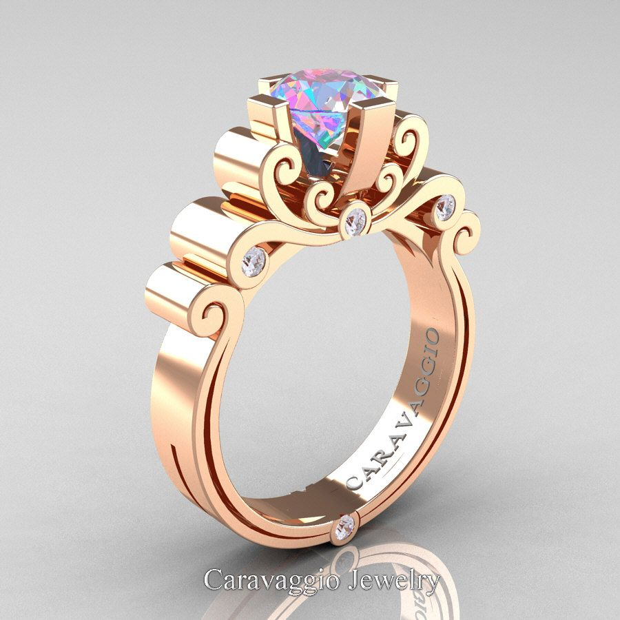 898c4ab6ceaa18 Caravaggio 14K Rose Gold 1.25 Ct Iridescent Cubic Zirconia Diamond  Engagement Ring R639-14KRGDICZ | Art Masters Jewelry