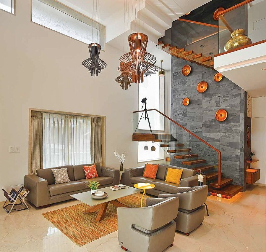 Living Room Duplex House Interior Design In India - WOWHOMY