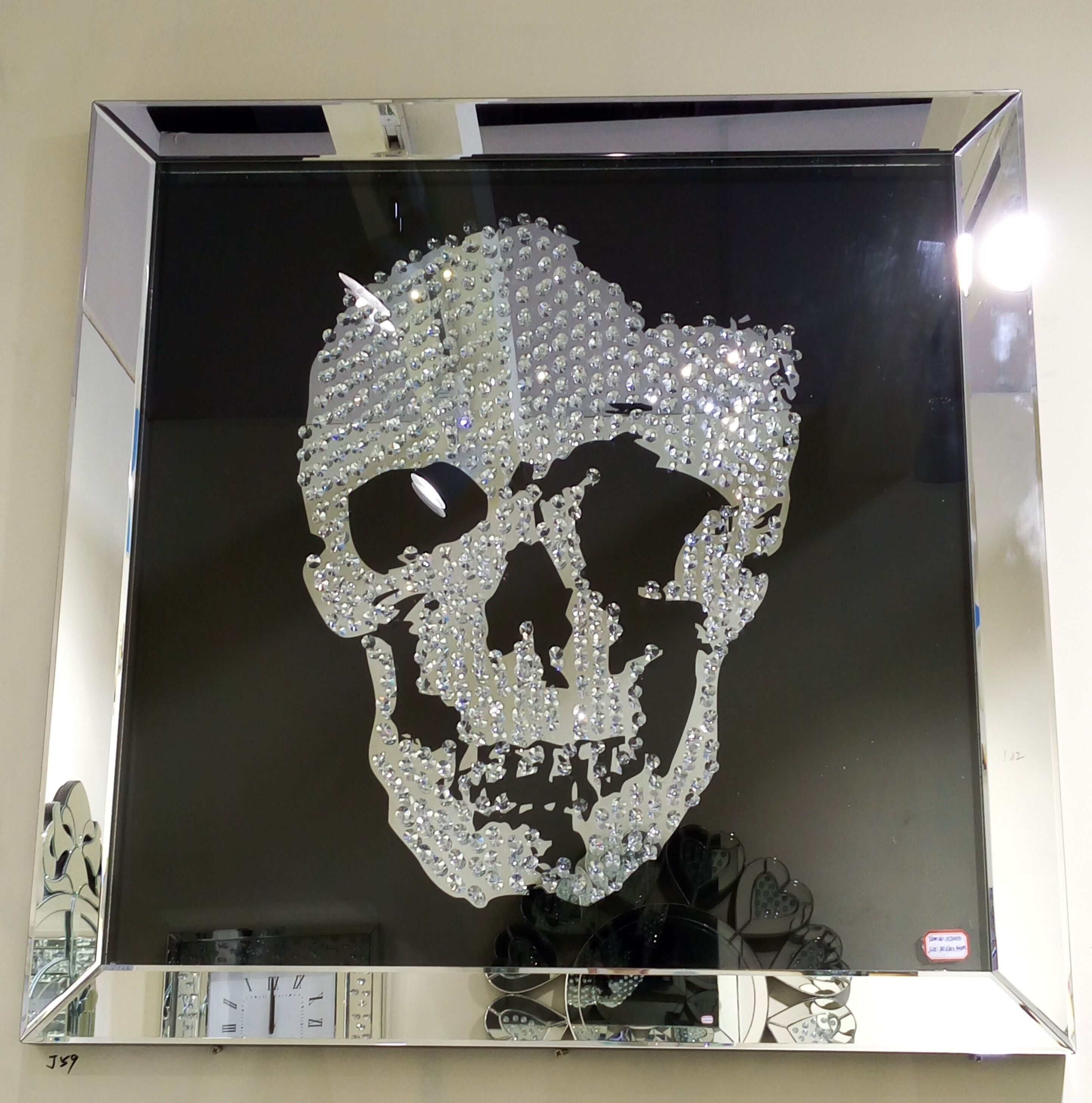 Swarovski Crystal Skull Wall Art With A Silver Mirrored