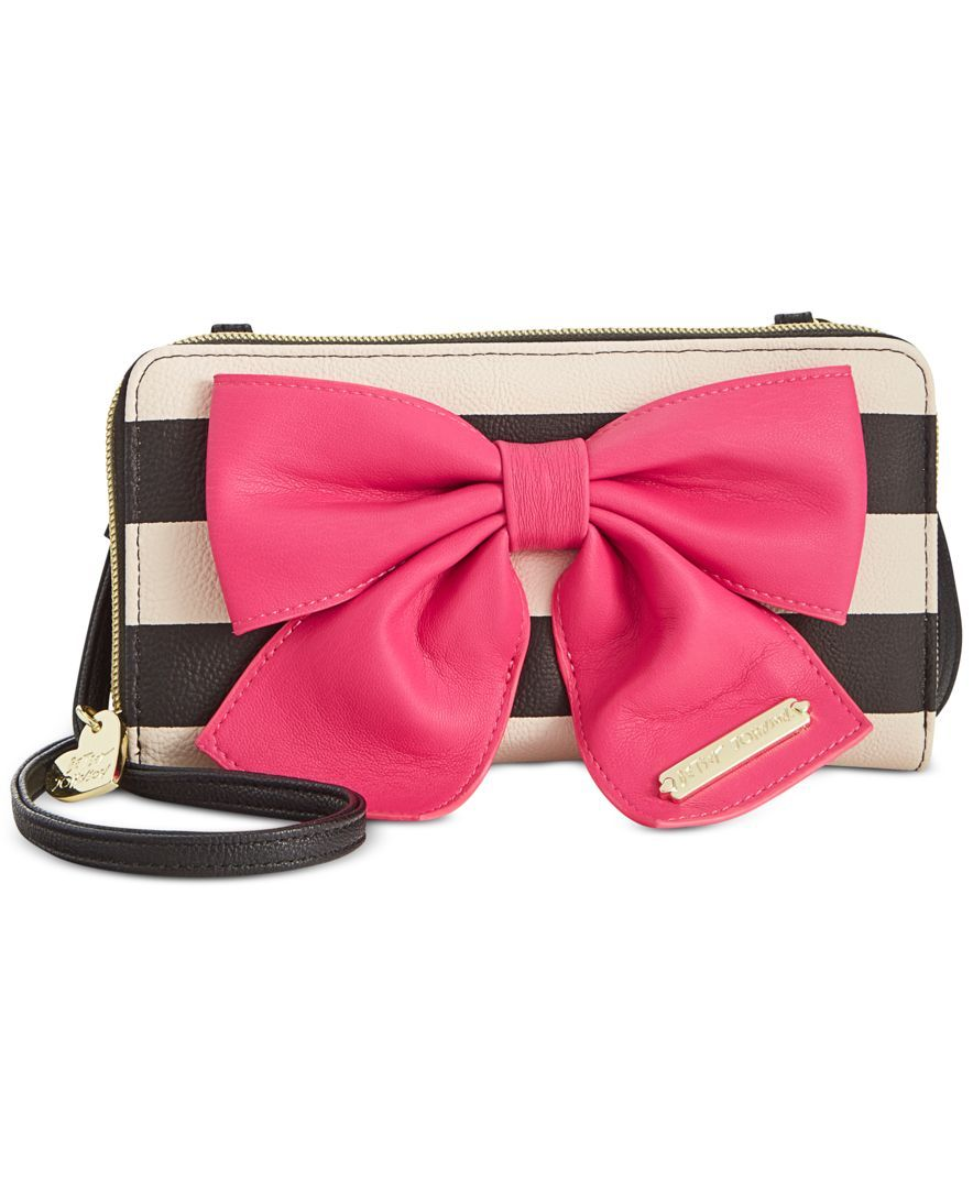 91e417dab273 Betsey Johnson Bow Zip Wallet Crossbody - Wallets   Wristlets - Handbags    Accessories - Macy s