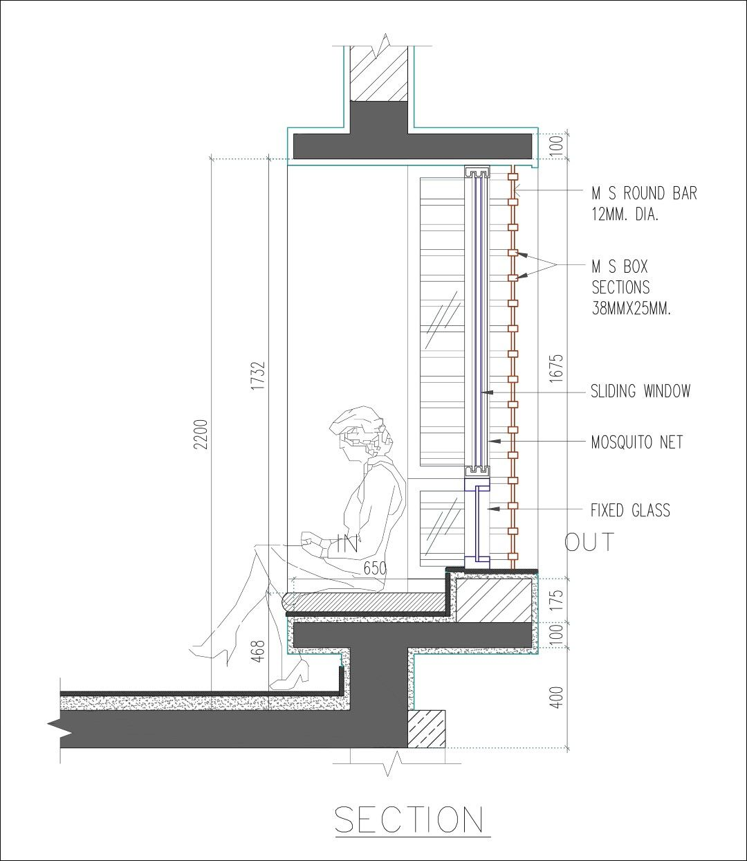 Courtyard house ahmednagar plan pinterest for Bay window plan detail