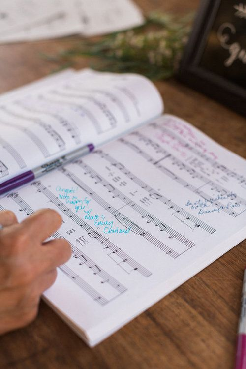 Musical Score Wedding Guest Book At One World Theatre In Austin Joshua Aull Photography
