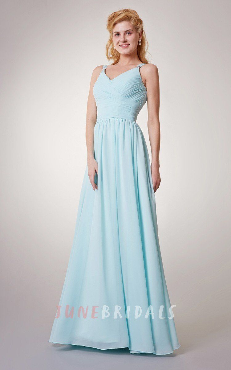Simple sleeveless aline chiffon long dress with crisscross ruching
