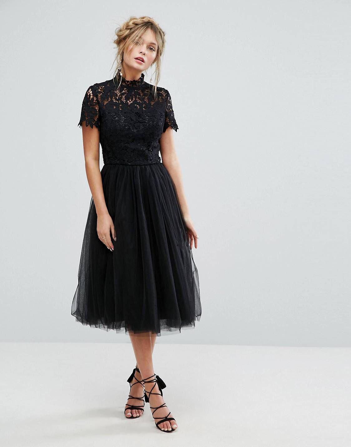 Chi Chi London High Neck Lace Midi Dress With Tulle Skirt In Black Asos Asos Black Chi Dress High Lace London In 2020 Kleid Mit Tullrock Midikleider Kleider