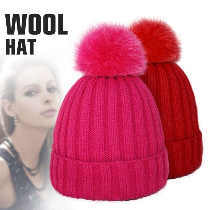 240093df7a1 Luxury Women Beanie Hat Wool Knitted Cap With Fox Fur Pompom Fashion Winter  Womens Crochet Brim