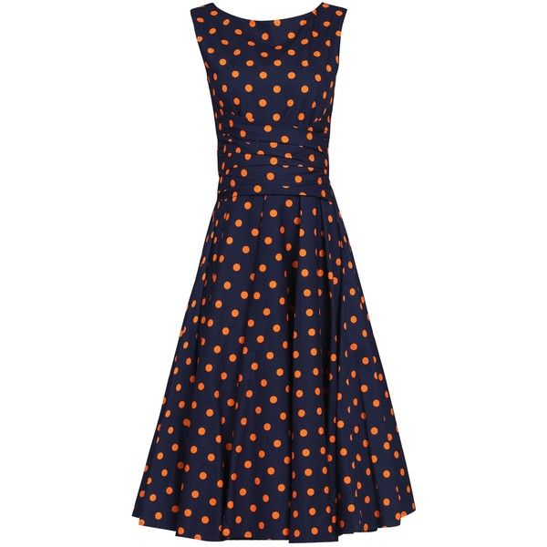 Jolie Moi Printed 50s Wrap Belt Dress (80 CAD) ❤ liked on Polyvore featuring dresses, clearance, orange, ruching dress, blue retro dress, blue ruched dress, belted dress and blue fit and flare dress