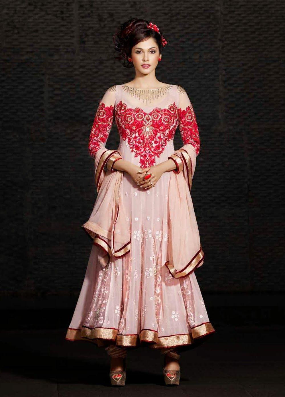 Stylish white dress wedding umbrella frocks churidar designs - Umbrella Frock Type Light Pink Dress