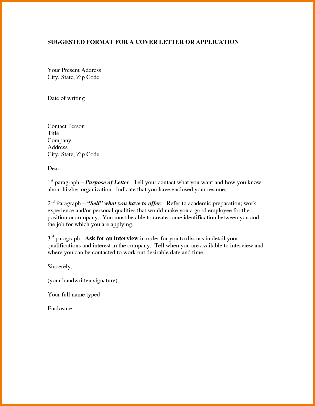 Formats of application letter application letter for How to structure a covering letter