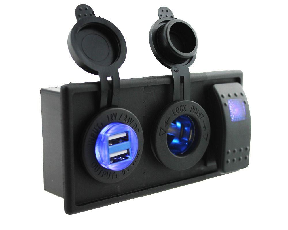 DC12V-24V Blue 4.2 A  double USB port blue led power socket with rocker switch holder for car boat RV motorcycle marine