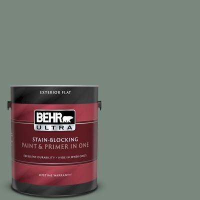 Behr Ultra 1 Gal 700f 5 Wild Sage Flat Exterior Paint And Primer In One 485301 Exterior Paint Exterior Behr