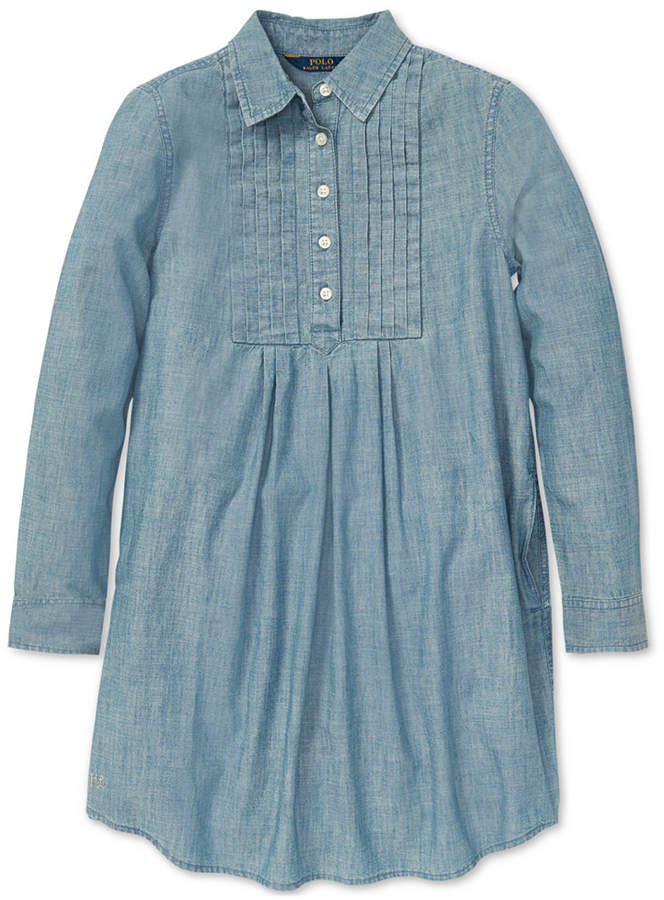 00d6c5f9c9b Polo Ralph Lauren Big Girls Pleated Cotton Chambray Dress