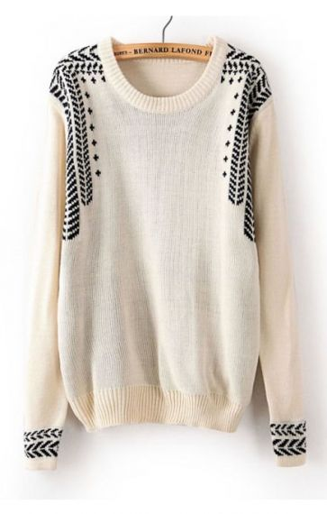 Cool cream sweater with black details. <>