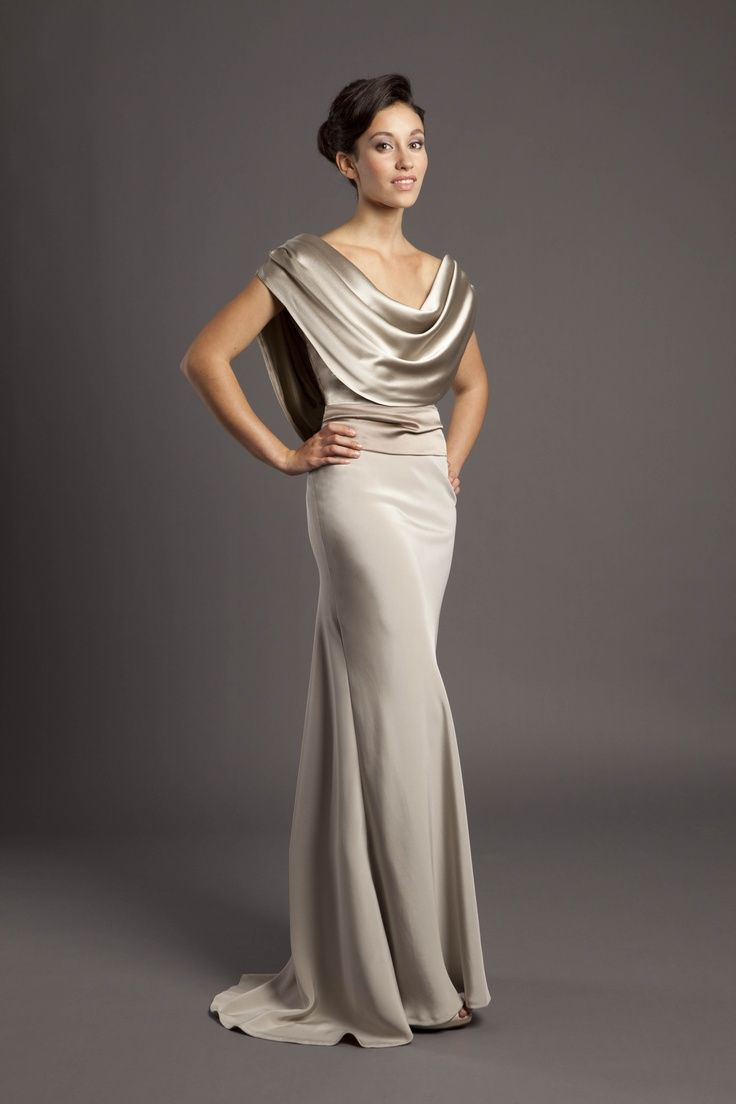 Silk crepe backed satin my dream wedding pinterest silk cowl drape bias cut gown in champagne taupe crepe back satin separate sash with floor length back ties from luke aaron bridal ombrellifo Gallery