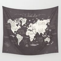 Wall Tapestries featuring The World Map by Mike Koubou