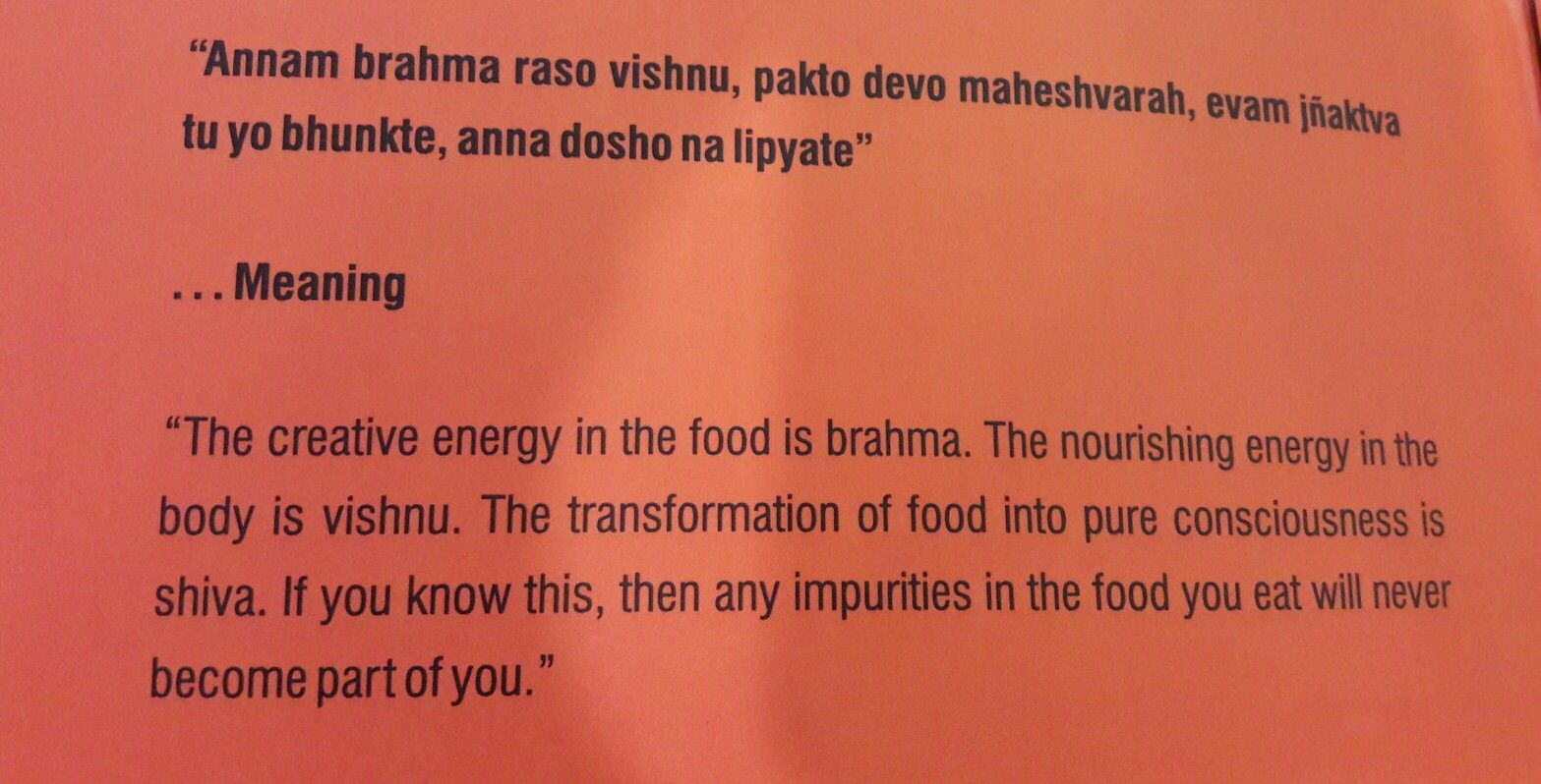 Indian Food Quote In Sanskrit N Its Meaning In English