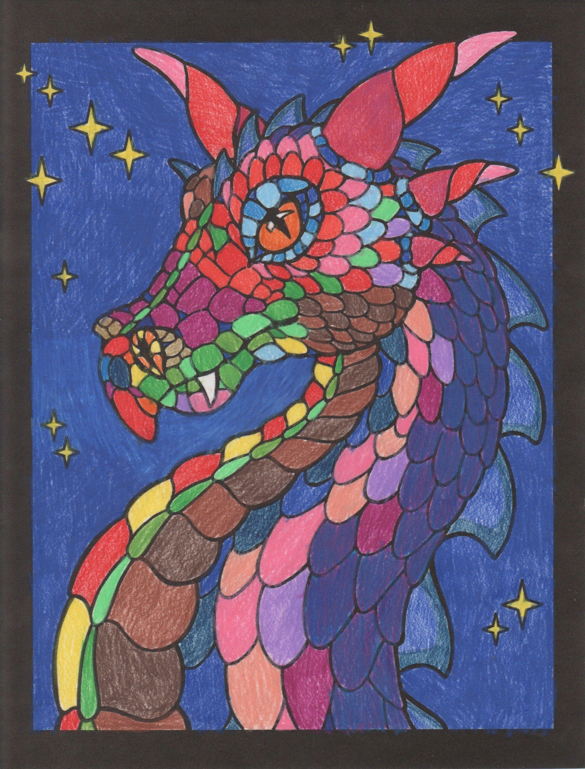 выстроена фото и рисунки драконов для витража потому