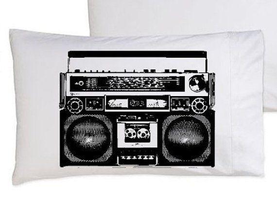Boombox Retro Pillowcase 1980's Radio bedding funny pillow | Etsy