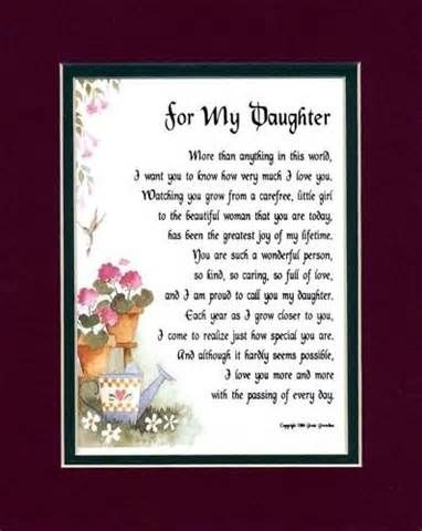 For My Daughter 28 A Touching 8x10 Poem Double Matted In