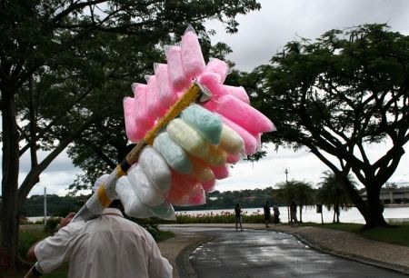 Brazil - Cotton candy seller.