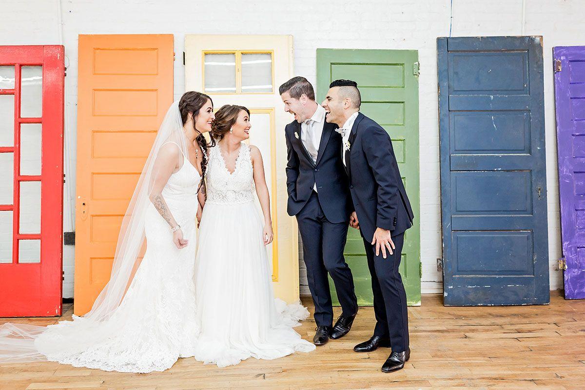 Rainbow Double Wedding Inspiration Lgbtq Wedding Wedding Inspiration Lesbian Wedding