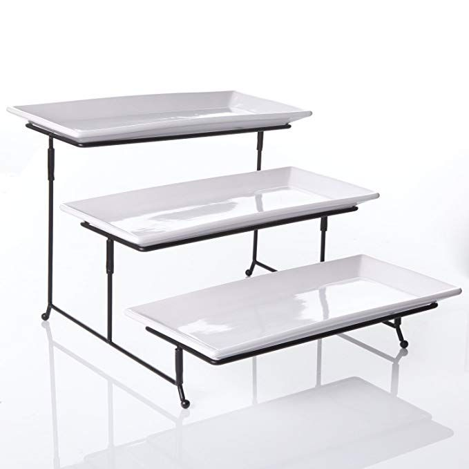 3 Tier Rectangular Serving Platter Three Tiered Cake Tray Stand Food Server Display Plate Rack White Tiered Serving Stand Cake Tray Cake Stand Ceramic