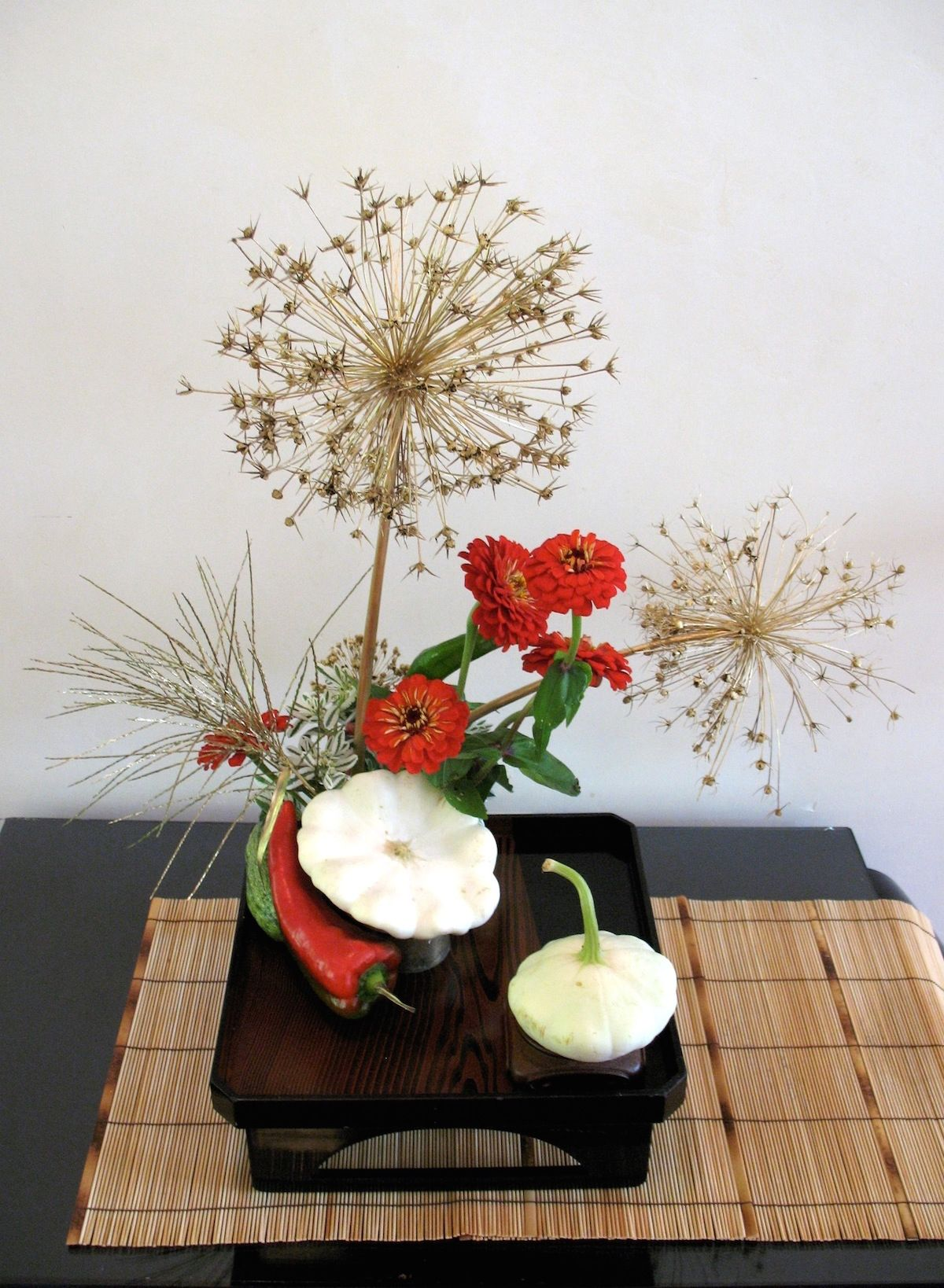Morimono, Ikebana arrangement with fruits/vegetables by Lisa Stanley,  Sogetsu School