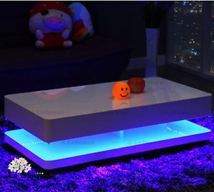 Tron Contemporary Glossy White Coffee Table Led Lights Led Coffee