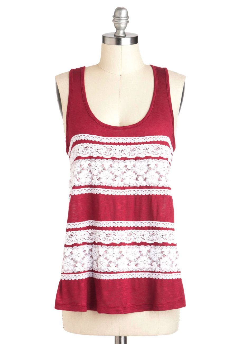 Floral You Need Is Love Top - Red, White, Lace, Casual, Tank top (2 thick straps), Sheer, Mid-length