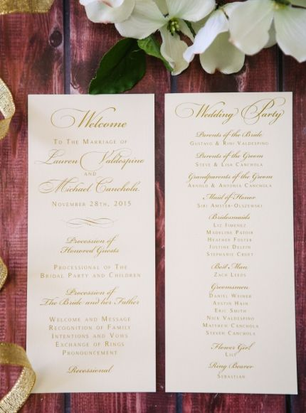 Clic Gold And White Wedding Program Stationary