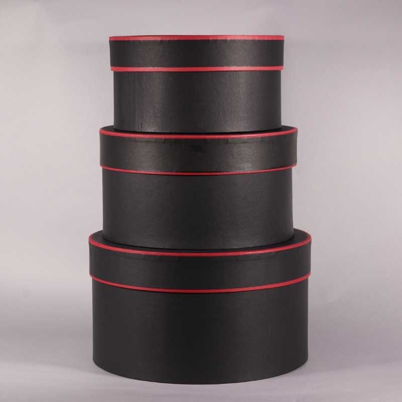 Hat boxes black red trim round set of 3 wholesale