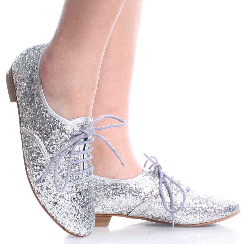 Silver Glitter Metallic Lace Up Oxford Brogues Women Dress Flats ...