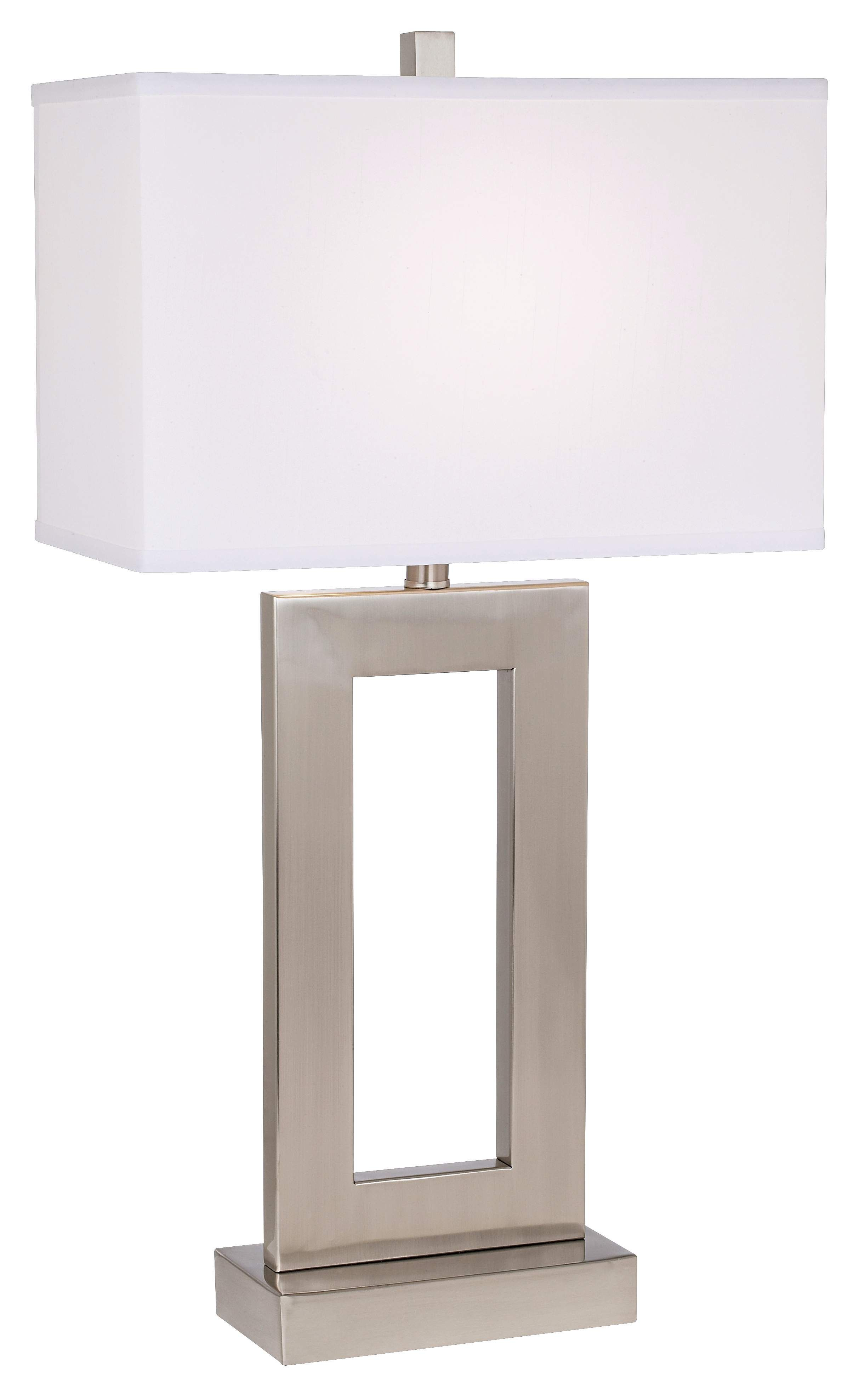 Brushed Steel Open Window Rectangular Table Lamp   #60238   LampsPlus.com