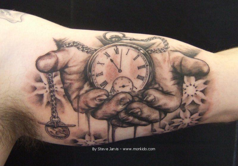 Hand Holding Pocket Watch Tattoo