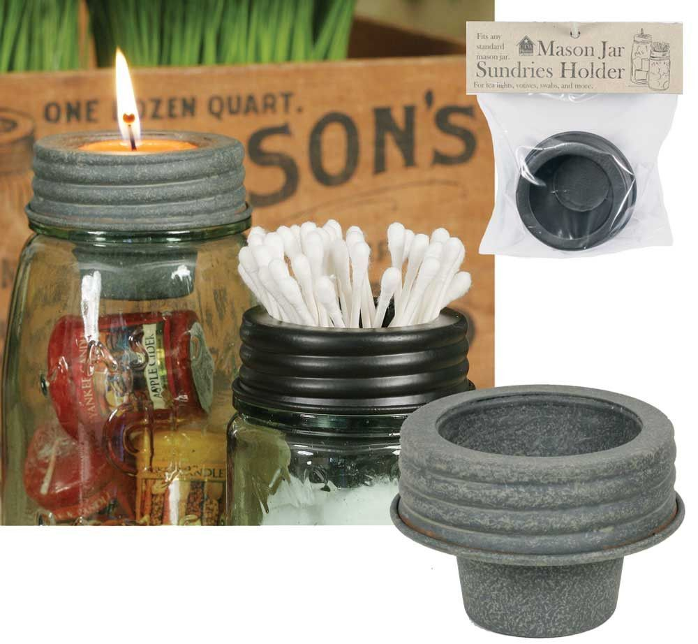 Tapered Cup Lid Barn Roof Tin Mason Jar Accessory Votives Home Kitchen Bath is part of Home Accessories Decor Mason Jars - Tapered Cup Lid Barn Roof Tin Mason Jar Accessory Votives Home Kitchen Bath Use this lid for QTips, votives, tea lights, or many other small items  Tapered cup is 2  tall and 1½  dia  at the bottom fits our pint, quart and half gallon Mason jars as well as any standard size Mason jar  Mason jar is not included  Perfect for centerpieces add items to the jar, shells, sand, yard, anything you like ! the outside of lid is 3 5 in; diameter and 2 5 in; tall  Please review our shipping policies you can find the link on the home page , at the bottom Free Shipping