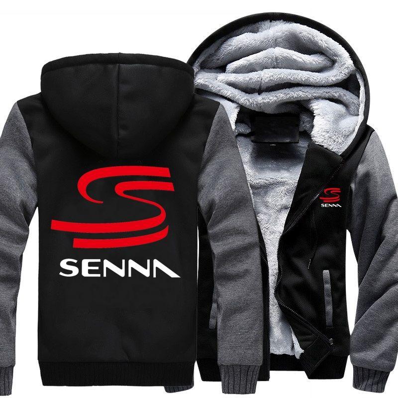 601a1858616 Hoodies Sweatshirts NEW HERO AYRTON SENNA Winter Men Thick Hoodies  Patchwork Sweatshirt Zipper Fleece Tracksuit -