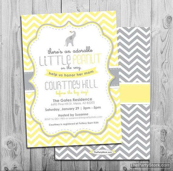 Elephant Baby Shower Invitation Little Peanut Invitations Printable Yellow Grey Chevron Invite Gray