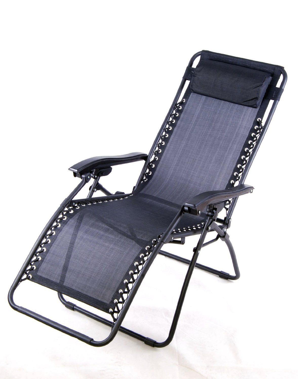 Outsunny Zero Gravity Recliner Lounge Patio Pool Chair Black