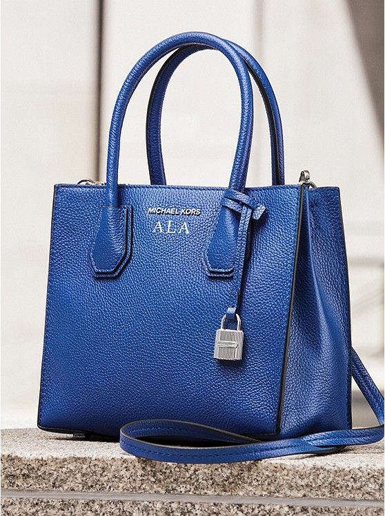 faaf6c3274b6 Michael Kors Mercer Blue Leather Crossbody | Michael Kors | Michael ...