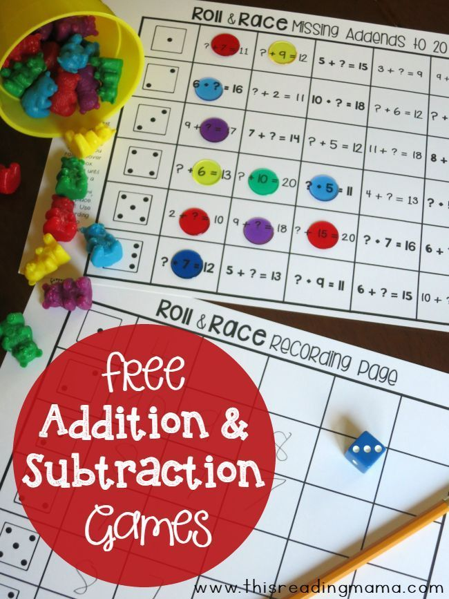 Addition and Subtraction Games - Roll and Race | School - Math ...