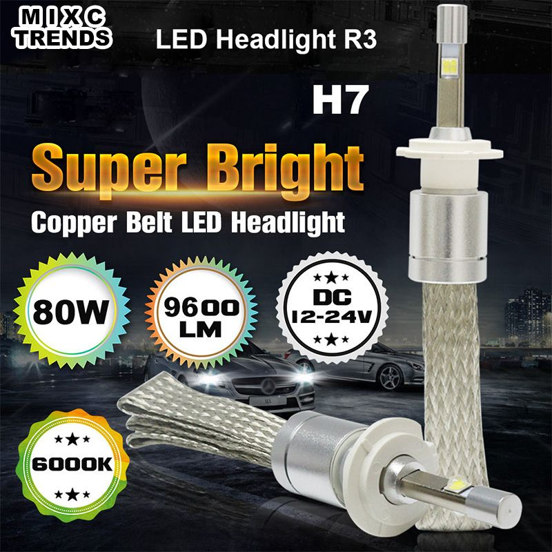 Mixctrends Super Led H7 80w 9600lm R3 Led Headlight 6000k White Super Bright Car Led Headlight Bulb Headlamp Fog Ligh Led Headlights Car Lights Headlight Bulbs
